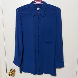 Wilfred Aritzia Royal Blue Silk Long Sleeve Blouse